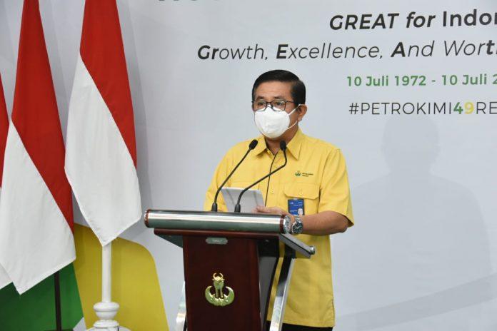 Direktur Utama Petrokimia Gresik, Dwi Satriyo Annurogo saat menyampaiakan sambutan dalam Upacara HUT ke-49 Petrokimia Gresik di Wisma Kebomas (10-07-2021)